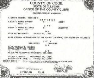 Aaliyah Marriage Certificate