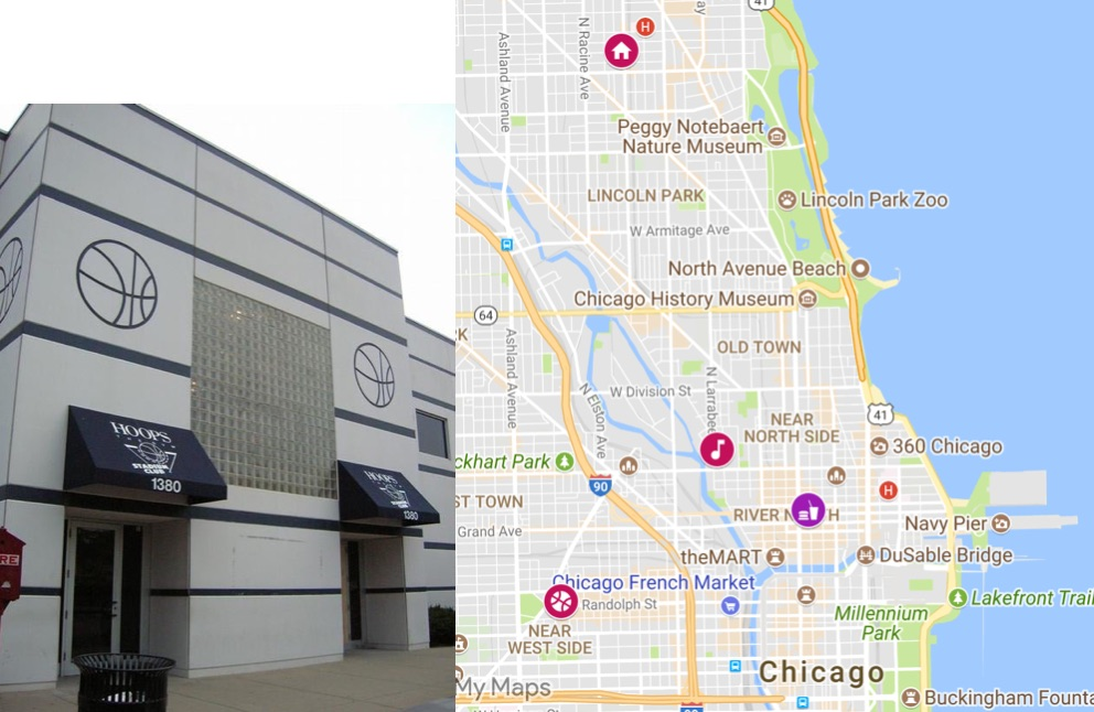 Hoops Gym and a map with Robert Kelly's home at 1010 W George St, his recording studio Chicago Trax, the Rock n; Roll McDonald's, and Hoops Basketball Gym