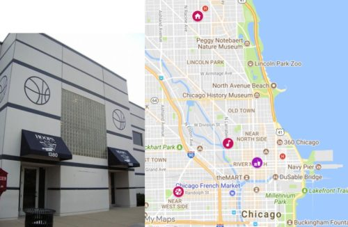 Hoops Gym and a map with Robert Kelly's home at 1010 W George St, his recording studio Chicago Trax, the Rock n' Roll McDonald's, and Hoops Basketball Gym.