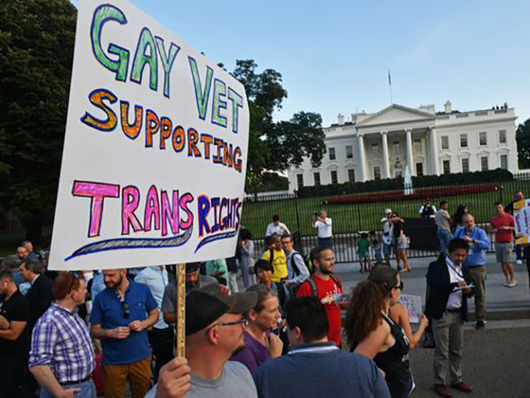 Gay Vet Supporting Trans Rights banner at protest